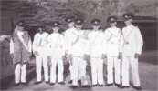 Greg, Rob, Harry, Charles Hubbard, Brian Revel, Val, Alan Morley, Gordon Scotney - Queens Birthday 1956 - Kuala Lumpur