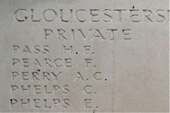 Herbert's name is chiseled into the stone of the Menin Gate