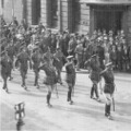 1920: Lincolnshire Regiment Marching through Lincoln just after WWI.