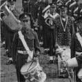 1947: Band & Drums just back from Malaya.  Bandmaster Brown, Band Sgt Sid Tredwell.  Taken on the Cricket Pitch at Sobraon Barracks.