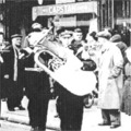 1952: Band home from Egypt. Marching along St Mary's Street, Lincoln. Bandmaster Brown.