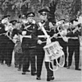 1959: Band & Drums of the 4/6th Btn TA,  The Royal Lincolnshire Regt, return to Sobraon Barracks after church parade.