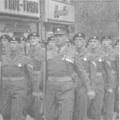 1960: The Royal Anglian Regiment. Parading up Lincoln High Street. Home from Germany.