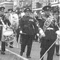 1960: Band & Drums with a Btn of The Royal Anglian Regiment. Freedom of the City parade.