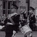 1962: The band of the 4/6th Btn (TA), in Lincoln, at the farewell parade for their C.O. - Lt.Col. G M Sanders, when he was promoted to Colonel (30 Sep 1962).  Bandmaster Ingall. Drum Major Pat Freeman. Bass Drum, Bunnie Barrett. Snare Drum, Frank Cox. Trombones, Reg Carter, and 'Trigger'. Bass Trombone, Joe Fuller.