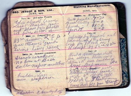 A page from Clement Hemingway's War Diary