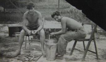 Cliff Marshall & Sid Pyatt peeling spuds