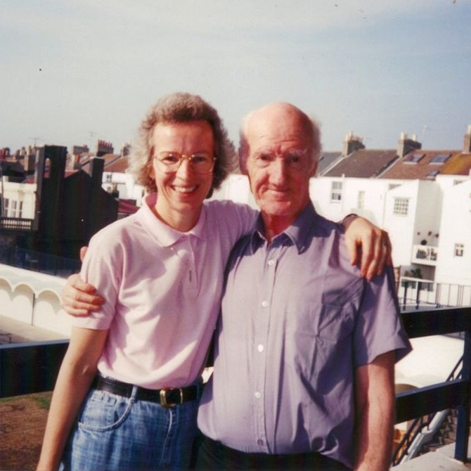 27th Sep 1997: Harry with daughter Sandra, Brighton.