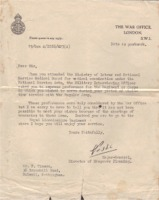 Notification of deployment to the Lincolnhsire Regiment - Frank Timson, 1958.