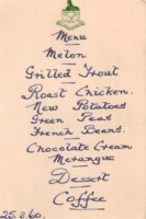Menu: 25th March 1960