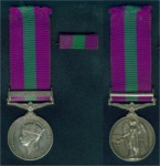General Service Medal (1918) with 'Palestine 1945-48' clasp. Awarded to 19036381 Pte. Wragg, F.; fourth issue GSM (awarded between 1948 & 1952) bearing the legend 'GEORGIVS VI DEI GRA: BRITT: OMN: REX FID: DEF: +' (omitting third issue phrase 'ET INDIAE IMP' following Indian independence).