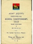 Army (Egypt) Individual Boxing Championships Finals - 1950 programme, dated 3rd February 1950 (front cover)