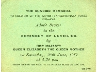 Dunkirk Memorial unveiling ceremony ticket (Family of L.Cpl. F.A. Foxon, Lincolnshire Regt.), dated 29th June 1957 (front)