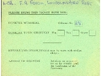 Dunkirk Memorial unveiling ceremony ticket (Family of L.Cpl. F.A. Foxon, Lincolnshire Regt.), dated 29th June 1957 (rear)