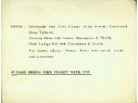Dunkirk Memorial unveiling ceremony ticket (for a Capt. D.K. Wright), dated 29th June 1957 (rear)