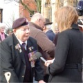 WW2 Lincolnshire Regiment Veteran, ex-Sergeant, Wally Hibbard being interviewed by a Television reporter