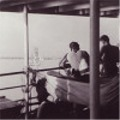Spare Time.  On the boat 'Empress of Australia', in the Indian Ocean, where you see Colombo in the background.  Paradise Island as is it named at the backside of photo. 