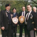 Wally Hibberd and Derek Hocking with the shields which were presented to Arnhem Scouts