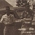 Cpl Wally Brightman with a Japanese Driver and Staff Car. Palembang.