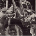 Lieut J.P.F. Furst (MTO) and Pte Beedham (driver) were both injured when a mine blew up this Bedford QL