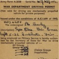 War Department Driving Permit, Provisional, 1947