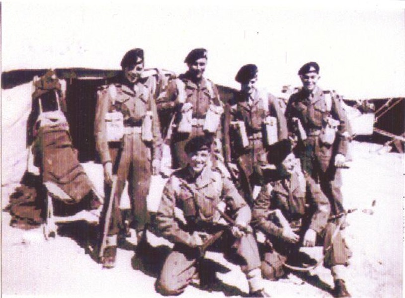 L to R. Alan Smith, Cpl Ron Fisher, Ernest 'Spud' Taylor, G Rose, Ron Quincey, ?. North Camp, Ismailia, Egypt, 1951-1952.