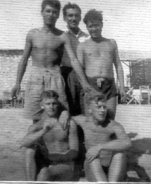 Sitting: Ernest 'Spud' Taylor. Aqaba, Trans-Jordan, 1949.