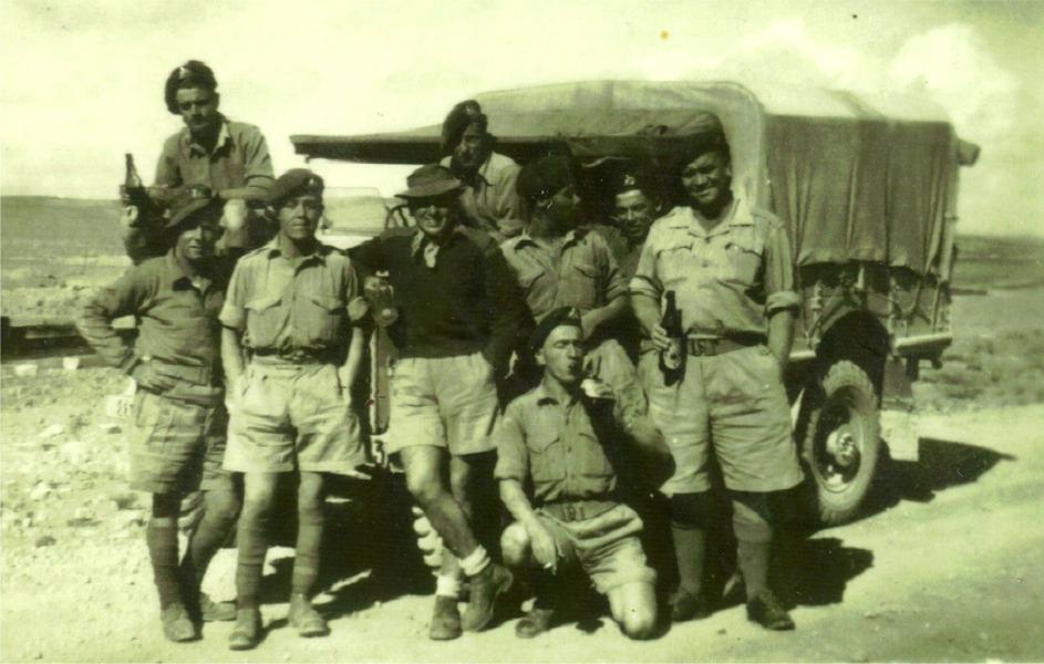 D.Coy. 1st B. Ken Garbett with mates. Aqaba 1951.