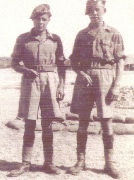 L to R. Cpl M Richmond, Pte Tug Ginge, 1st Bn. Egypt 1949.