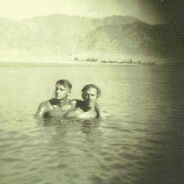 Ernest 'Spud' Taylor & Ken Garbett. Aqaba, Red Sea, 1951. 1st Bn. D.Coy.