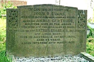 Arthur Evans' headstone