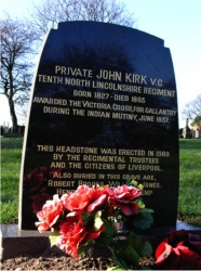 John Kirk's headstone was erected in 1989 by the Regimental Trustees and the people of Liverpool