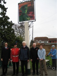 Left to right: David Henshaw, Remembrance Day Parade Organiser for Paddock Wood; John Leigh, Bugler; Richard Snow, Project Organiser; Eric Knight; Alex Atkinson; Mrs Knight.